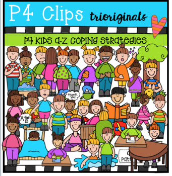 A-Z Coping Strategies BUNDLE (P4 Clips Trioriginals Clip Art)