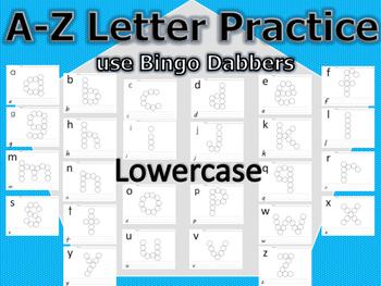 A-Z DOT LETTERS - LOWERCASE - BINGO DABBERS - WRITE LETTER