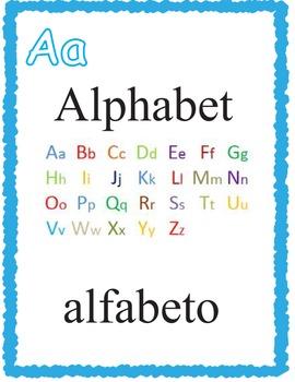 A-Z English Spanish Flash Cards