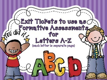A-Z Exit Tickets (an exit ticket for every letter) Good Fo