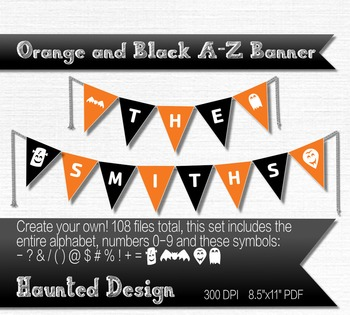 A-Z Halloween Orange and Black Banner Printable 108 total flags for banner