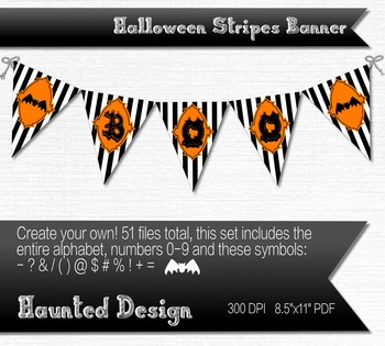 A-Z Halloween Striped Banner Printable 51 total flags for banner