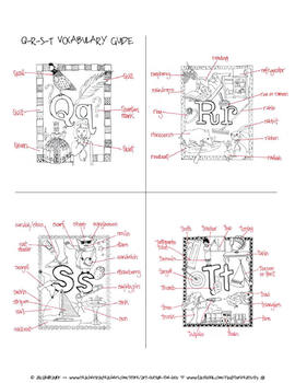 A-Z Illustrated Vocabulary Word Coloring Books and Clip Art