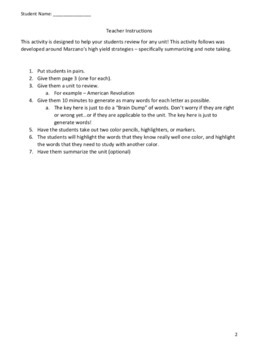 A-Z Knowledge Review - Cooperative Reviewing Activity