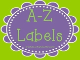 A-Z Labels, purple and green
