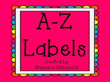 A-Z Labels, rainbow