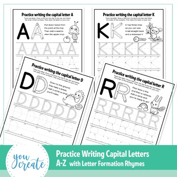 A - Z Letter Formation CAPS | Tracing Capital A - Z | Letter Formation Poems
