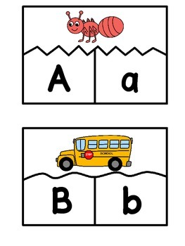 A-Z Letter Match and Beginning Sound Puzzles