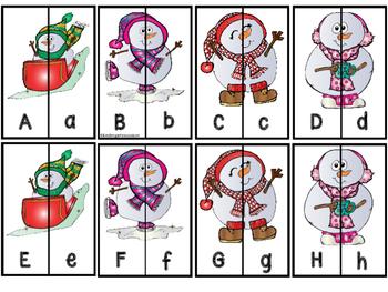 A-Z Letter Matching Puzzles - Snowmen