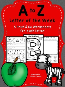 A to Z Letter of the Week Worksheets