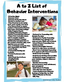 A-Z List of Behavior Interventions