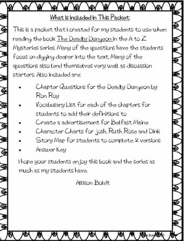A-Z Mysteries Deadly Dungeon Comprehension Packet
