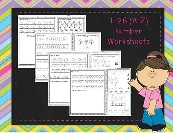 A-Z Number worksheets