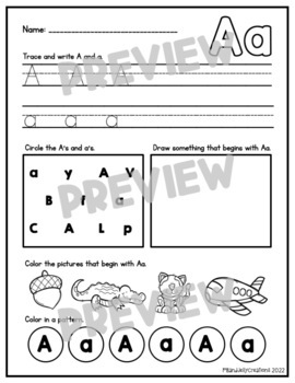A-Z Phonics Bundle/Letter of the Week/Alphabet and Phonics Worksheets