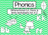 A-Z Phonics Cut, Paste, & Write