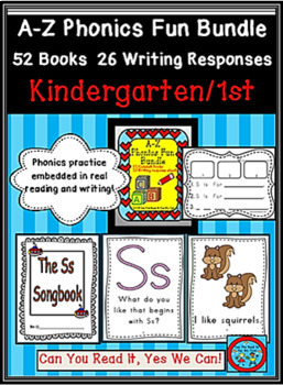 A-Z Phonics Fun Bundle: 52 books and 26 Writing Response P