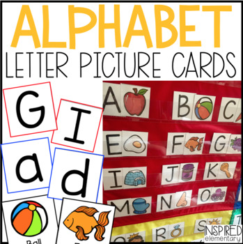 a z pocket chart letter picture cards by inspired elementary tpt
