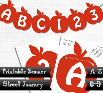 A-Z Printable Apple Banner entire alphabet 0-9 and more 30