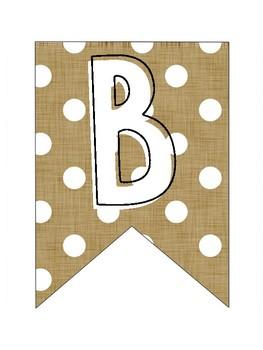 A-Z Printable Banner - Burlap & Polka Dots!