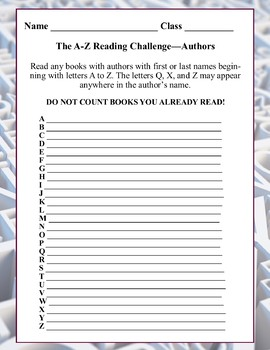 A-Z Reading Challenge--Titles (middle school)