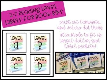 A-Z Reading Level Bin Labels