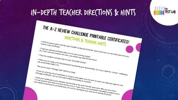 A-Z Review Challenge Review Game Customizable Student Certificates