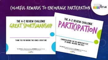 The A-Z Review Challenge Review Game Customizable Student Certificates