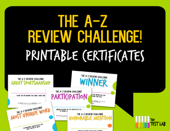 A-Z Review Challenge Review Game Customizable Student Cert