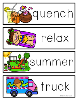 A-Z SUMMER Write The Room Activities & Word Wall Cards