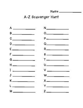 A-Z Scavenger Hunt