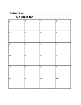 A-Z Sheet for Videos