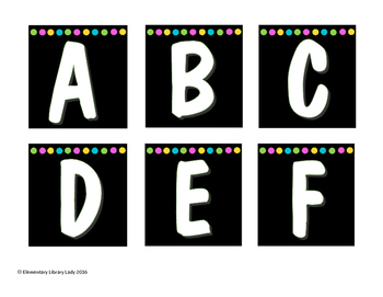 A-Z Shelf Labels Black with Bright Dots