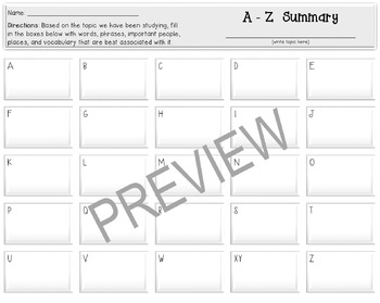 """Review Activity: """"A-Z Summary"""""""