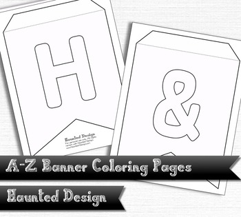 A-Z Two Pointed Banner Coloring Pages PDF Classroom Decoration or ...