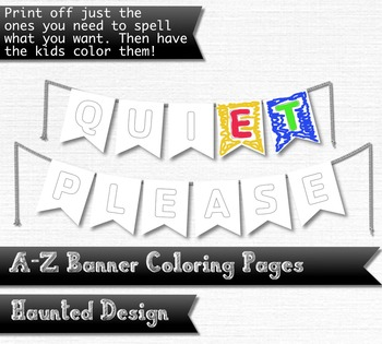A-Z Two Pointed Banner Coloring Pages PDF Classroom Decoration or Party 50 PDF