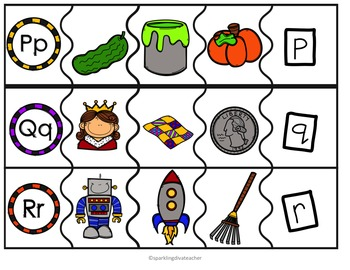 A-Z Upper & Lower Case Letter Matching and Beginning Letter sounds Puzzles