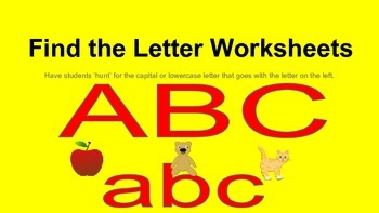 A-Z Uppercase and Lowercase Matching Worksheets