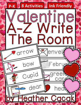 A-Z Valentine Write The Room Activities & Word Wall Cards