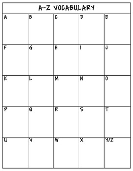 A-Z Vocabulary Chart for Interactive Notebooks