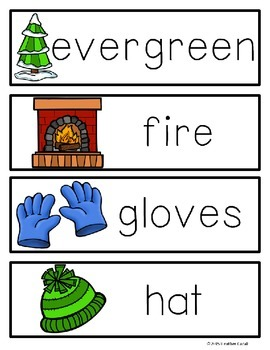 A-Z Winter Write The Room Activities & Word Wall Cards