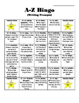 A-Z Writing Bingo
