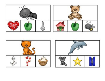 A-Z beginning sound (alliteration) clip cards
