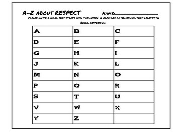 A-Z for Respect