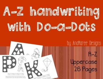 A-Z handwriting with Do-a-dots. Full alphabet in uppercase