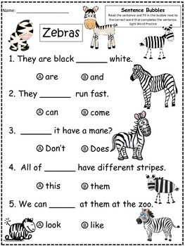 A+ Zebras: Fill In the Blank.Multiple Choice Sight Word Sentences