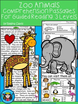 A+ Zoo Animals Comprehension For Guided Reading