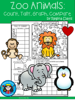 A+ Zoo Animals... Count, Tally, Graph, and Compare