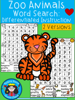 A+ Zoo Animals Word Search: Differentiated Instruction