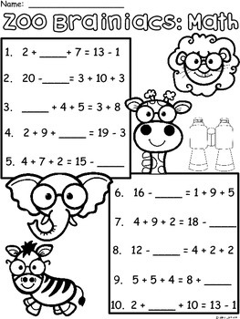 A+ Zoo Brainiacs: Math... Addition and Subtraction Differentiated  Practice