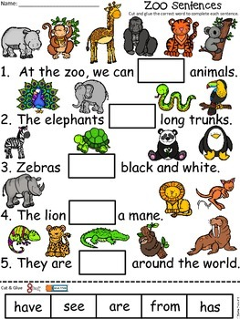A+ Zoo Sentences: Fill In The Blank